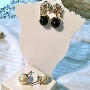 JBK Two Pairs interchangeable Pearl Earrings
